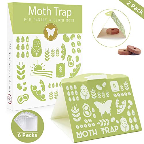 MASCARRY 6 Pack Moth Traps and 2 Pack Cedar Wood, Premium Super Attractant Pheromone, Versatile Non-Toxic Sticky Glue Cloth and Pantry Moth Traps for Closet and Kitchen, Outdoor and Indoor Use