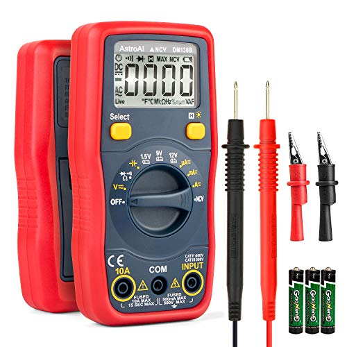 AstroAI テスター デジタル テスター マルチメーター 4000カウント オートレンジ AC DC電圧 AC DC電流 抵抗 バッテリーテスター 手動、自動モード 非接触式