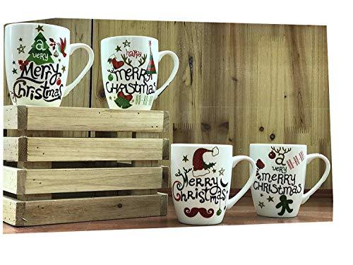 All For You X978 Christmas New Bone China Mug with Christmas Gift Prints ,Christmas Tree, Merry Christmas -Set of 4, 12 Oz, Gift Box (4 Piece Assorted Color)