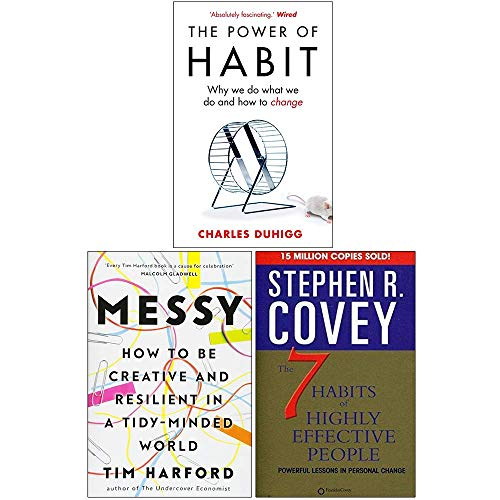 The Power of Habit, Messy [Hardcover], The 7 Habits Of Highly Effective People 3 Books Collection Set