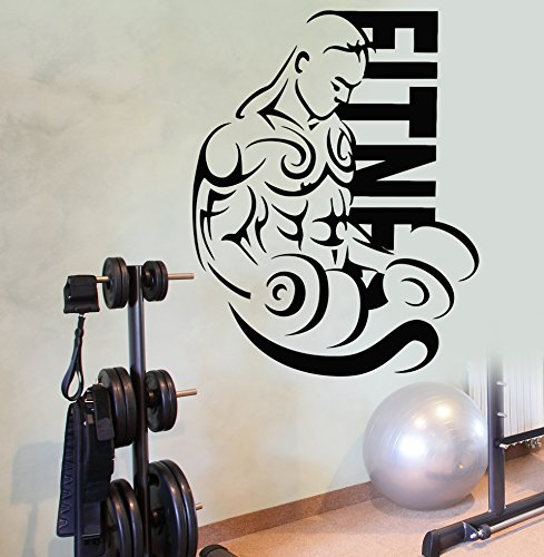 Wall Stickers Vinyl Decal Fitness Sport Bodybuider with Barbell Decor for Gym F (Z1970I)