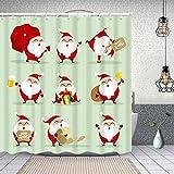 Yoliveya Cortina Ducha Impermeable,colección Navidad Santa Claus Set,Impresión de Cortinas baño con 12 Ganchos 150x180cm