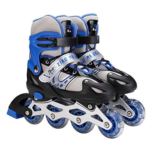 XIUWOUG Adjustable Inline SkatesRoller Skates with Illuminating Light Up WheelsABEC 7 Bearing Roller Blades for KidAdultsMen Women And TeensBlueL 394212adult