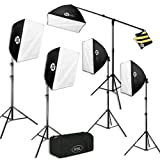Four (4) PBL Pro 24in x 24in EZ softboxes,  Heavy Duty Extra Thick Material One (1) PBL EZ Softbox 12in x 12in, Heavy Duty Extra Thick Material Five (5) Fluorescent 5500k daylight bulbs 50 watts equivalent to 1250 watt of incandescent light (5) Diffu...