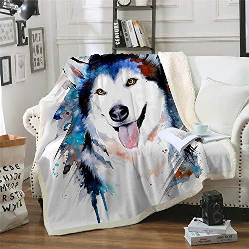 Xzfddn Manta de cama de microfibra Animal impreso manta de tiro acuarela lindo perro mascota colchas