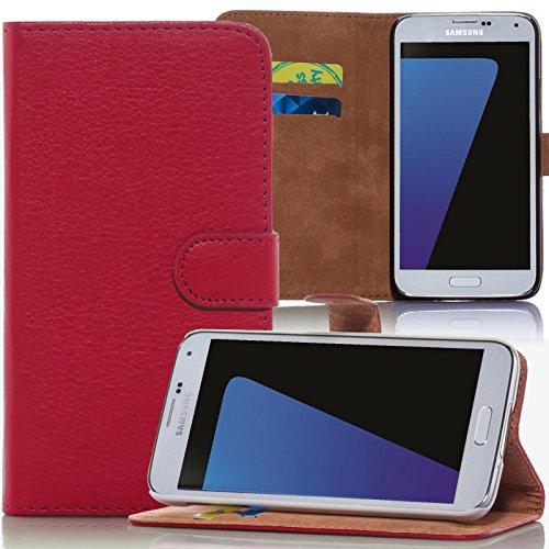 numerva Funda para LG G3S, funda protectora [estilo libro, función atril, tarjetero] de piel sintética para LG G3S (D722), color rojo