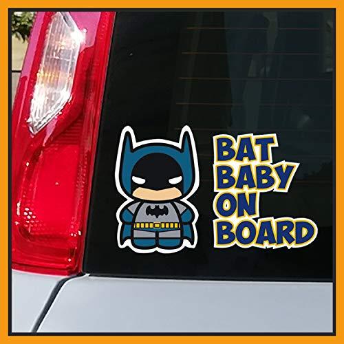 Adesivo BABY ON BOARD per auto - Bebè a bordo/Bebè In Car Decalcomanie Etichetta Sticker adesivo divertente supereroi - Bimbo Safety Sign Car Sicurezza (Bat-Baby)
