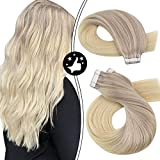 Moresoo Tape Hair Extensions 20Inch Tape in Hair Extension Human Hair Platinum Blonde Balayage Real Remy Natural Human Hair Silky Straight Seamless Hair Extensions 20pieces/50G