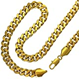 Fashion kimi2 N227a-18ct Gold Filled Cuban Link Chain Necklace for Men 9mm Width (23.6)