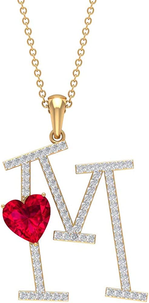 1.6 CT Ruby and Moissanite Letter free shipping Alpha OFFicial site M Pendant Gold