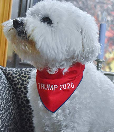 Embroidered TRUMP 2024 or TRUMP 2020 or Dog or Cat BANDANA Over-The-Collar-Style MAGA Pet Scarf for Trump Supporters, All Sizes XXS to XXL, Made in USA