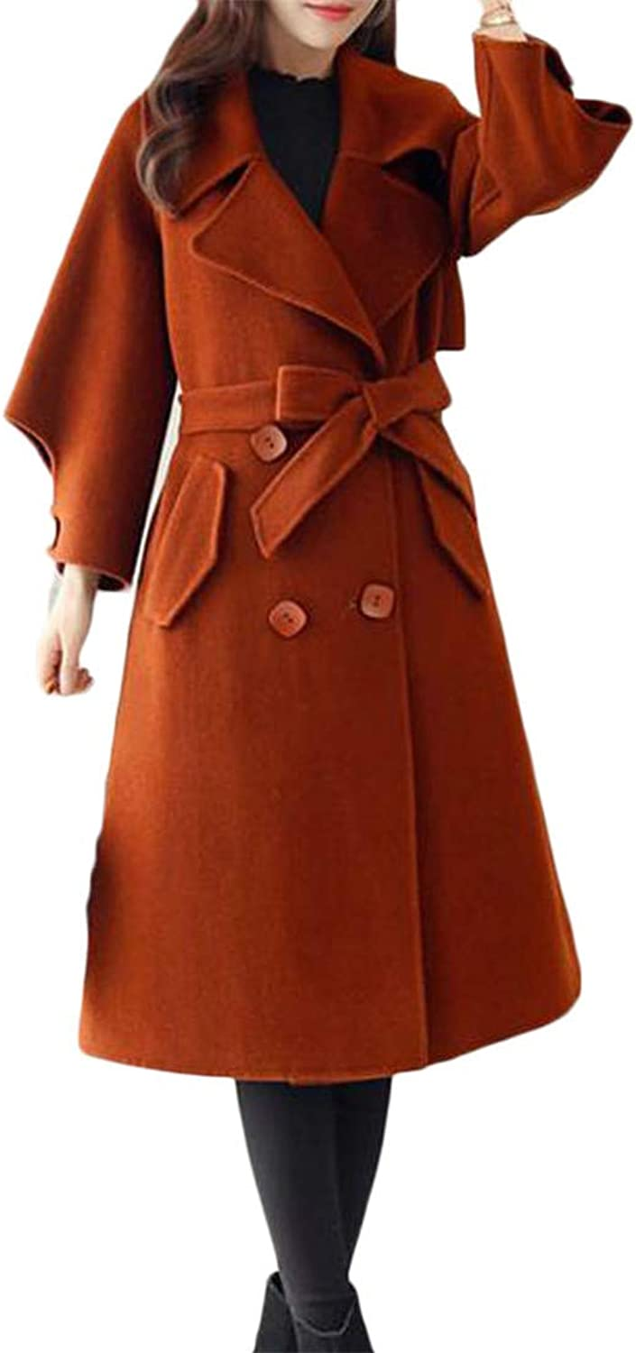 Pandapang Women Belt DoubleBreasted Lapel Neck Classic Trench Pea Coat Jacket