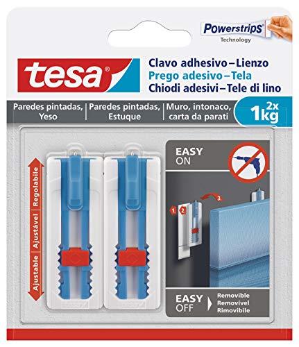 Tesa - Clavo adhesivo para colgar lienzos y marcos para bastidores (en papel pintado y yeso)