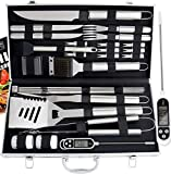 ROMANTICIST 27pc BBQ Grill Accessories Set with Thermometer for Men Dad on Fathers Day - Heavy Duty Stainless Steel Grill Utensils with Aluminium Case for Outdoor Camping Backyard Barbecue
