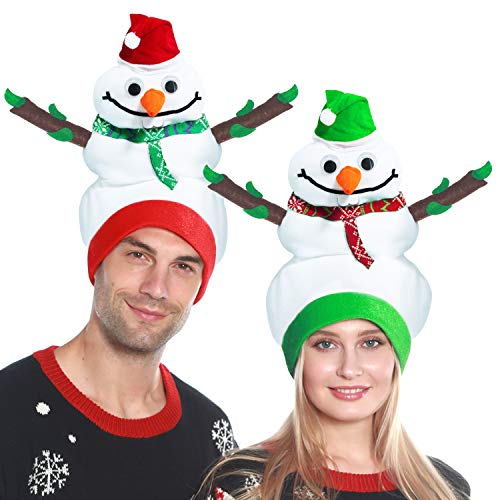 Camlinbo 2 Pack Christmas Santa Hats Funny Snowman Hat for Kids Adults