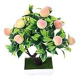 DEI Simulación artificial de bonsai planta de árbol de fruta en maceta de plástico falso mini árbol de limón, melocotón árbol para el hogar oficina decoración de escritorio