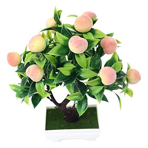 DEI Simulazione di Piante Bonsai Artificiali Albero da Frutto in Vaso Plastica Finta Mini Lemon Tree Peach Tree Home Office Desktop Decorazione