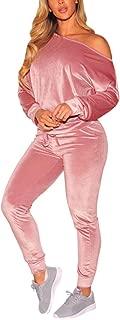 Selowin Women Off One Shoulder 2 Piece Casual Jogger Sweatsuit Velvet Tracksuit Sets