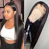 Cabello humano real recto, peluca humana real frontal de encaje frontal, todo el cabello humano tejido a mano con una densidad del 150% se puede teñir de forma permanente (Tamaño : 20inch)