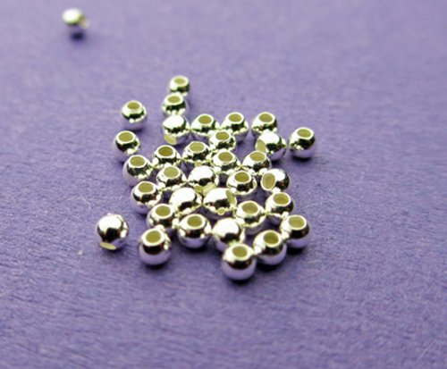 Abstands-Perlen, 2mm, 925Sterling Silber, rund, 50 Stück