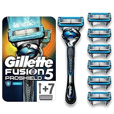 Gillette Fusion5 Proshield Chill Razor for Men + 7 Refill Blades with Precision Trimmer