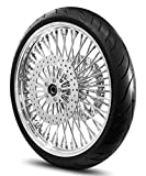 21X3.5 52 Fat Spoke Wheel for Harley Touring Bagger fits 2000-2007 Models w/Tire & Rotors (w/bolts) (All Chrome & Black Wall Tire)