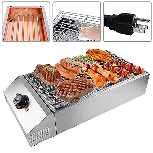 Shikha Electric BBQ Grill Countertop Outdoor and Indoor Barbecue Grill Smokeless 110V 2500W...