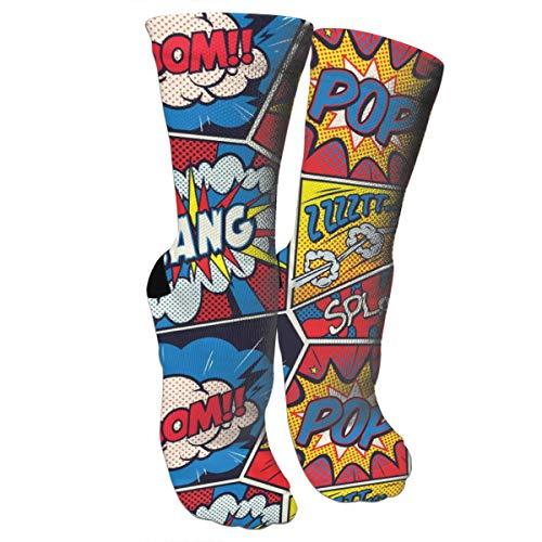 Retro Pop Art Comic Shout Kompressionssocken Unisex Bedruckte Socken Crazy Gemustert Fun Lange Baumwolle Socken über der Wade Tube