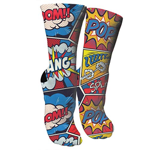 Retro Pop Art Comic Shout Compression Socks Unisex Printed Socks Crazy Patterned Fun Long Cotton Socks Over The Calf Tube