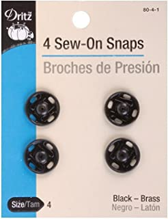 Dritz 80-4-1 Sew-On Snaps, Black, Size 4 4-Count