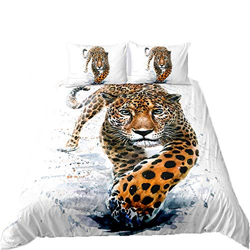 Feelyou Boys Kids Leopard Comforter Cover Set Full Fierce Cheetah Duvet Cover Safari Wild Animal Printed Quilt Cover, Teens Bedroom Decorative 3 Piece Bedding Set with 2 Pillow Sham Watercolor
