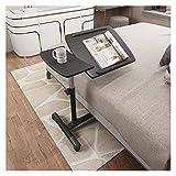 ABD Mesa sobrecama con ruedas, altura ajustable, mesa con ruedas, escritorio, escritorio, escritorio, escritorio, mesa inclinable, 70 x 40 x 58/88 cm, color negro