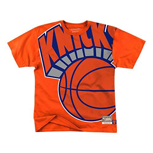 Mitchell & Ness NBA Big Face New York Knicks - Camiseta de manga corta, color naranja naranja XL