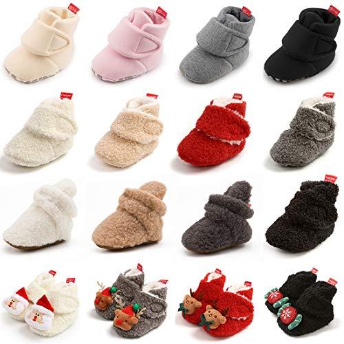 KIDSUN Newborn Infant Baby Boys Girls Fleece Booties Stay On Socks Soft Shoes Non Skid Winter Warm Christmas Slippers (A1_Black/, 6_Months)