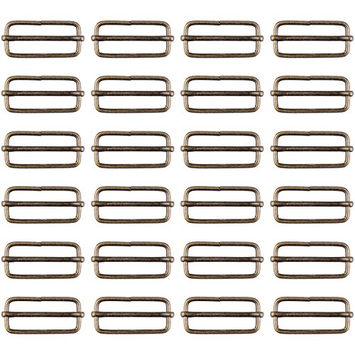Rectangular Buckle Brass Metal Slide Bar with Adjustable Tri-Slip Buckle for Strap Fastening, 38mm (30 Package)
