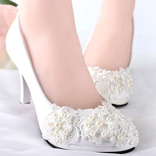 JINGXINSTORE Perles dentelle dentelle blanche chaussures de mariage Suite Nuptiale  approvisionnement direct des fabricants