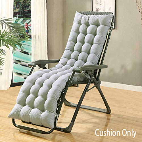 LINGRUI Thick Sun Lounger Cushion Soft Pads,Portable Garden Wooden Lounger Recliner Rocking Chair Cushion,Bench Car Seat Pad for Travel/Beach/Outdoor,Grey,160x48cm