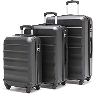 【VIHEEVA】Anti-scratch Hardside Spinner Luggage Sets Expandable(only 28inch) 3 Piece Set Lightweight Large suitcase Sets 24inch 20inch carry on (dark black) FREE RETURN