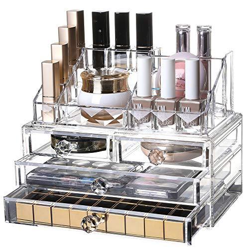 Makeup Organizer DREI-Schicht-Drawer Cosmetic Organizer Schubladen Plexiglas Jewellery Box Make-up-Speicher-Fall löschen Kosmetischer Organizer Großartig (Color : Clear, Size : M)