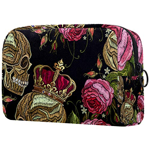 ATOMO Makeup Bag, Fashion Cosmetic Travel Bag Large Toiletry Bag Makeup Organizer for Women, Embroidered Punk Skull With Crown Rose Flower
