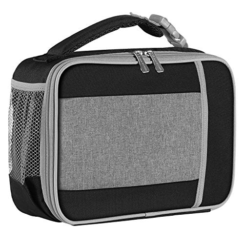 Kids Lunch Box with Supper Padded Inner Keep Food Cold Warm for Longer Time,Amersun Leak-proof Solid Insulated School Lunch Bag with Multi-Pocket for Teen Boys Girls,CPC Certified,Black+Grey