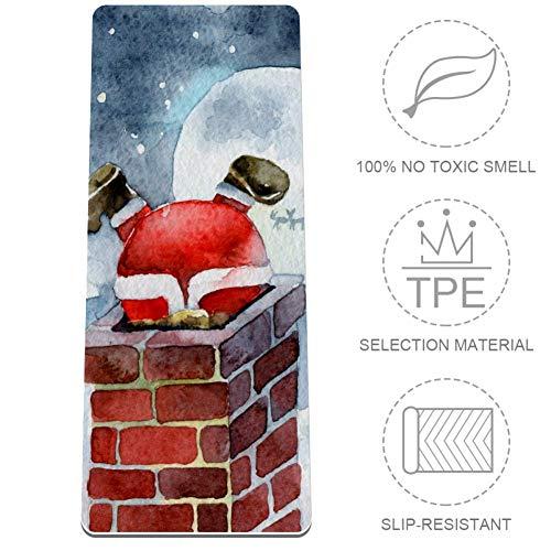 AMEILI Weißer Weihnachtsmann Kletterkamin Yogamatte für Frauen, Premium 8 mm Dicke Matte, umweltfreundlich, hohe Griffigkeit, ultradichte Polsterung für Unterstützung und Stabilität beim Yoga