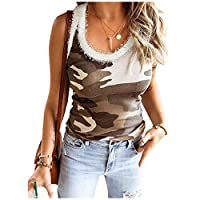 AngelSpace Women's Sleeveless Blouse Crewneck Splicing Tank Camo Tees Shirt Khaki L
