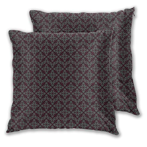 LISNIANY Cushion Cover,Old Fashioned Abstract Ornament Pattern with Baroque Elements,Pillow Case Cover Square Cushion Cover for Sofa Car Home Bed Decor 45 x 45cm