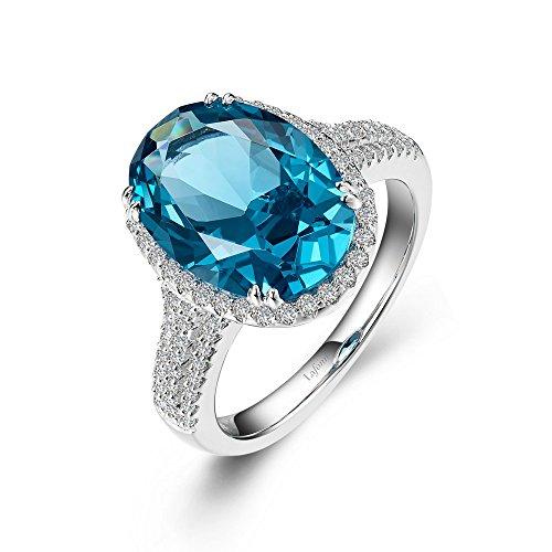 Lafonn Klassische Sterling Silber-Platin überzog paraiba turmalin Ring (6,63 cttw)