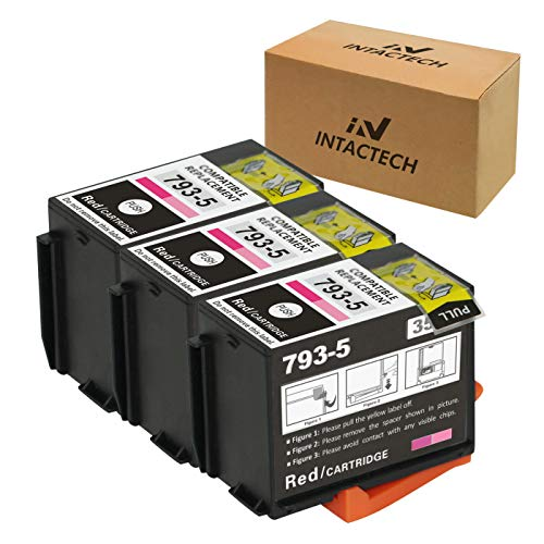 Intactech Compatible with Pitney Bowes 793-5 (Red, 3 Pack) Ink Cartridges Work for DM100i, DM125i, DM150i, DM175i, DM200L, DM225, P700, DM200i, DM175i-MH, P7L1, PRL1 Postage Meters
