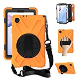 ZenRich Samung Galaxy Tab A 8.4 Case 2020, SM-T307U Case,Heavy Duty Shockproof Case with Hand Strap Shoulder Strap Kickstand for Galaxy Tab A 8.4 Inch 2020 SM-T307U Verizon/T-Mobile/Sprint-Orange
