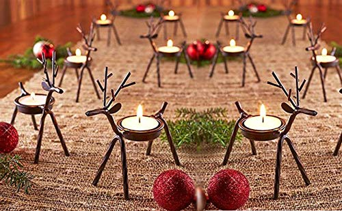 Asunflower Set of 6 Reindeer Tea light Candle Holders Christmas Tabletop Candle Holders for Holiday Decoration Home Decor