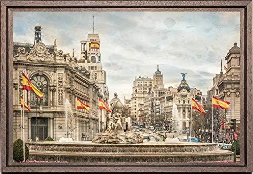 Cuadro enmarcado - Cuadro de la Fuente de la Diosa Cibeles en Madrid - Fotografía artística y moderna de alta calidad - Listo para colgar - Hecho a mano en España (20_x_30_cm)
