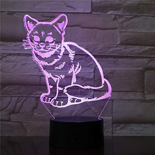 sanzangtang Luz Nocturna LED 3D-Vision-Seven Colors-Remote Control-Kitten Cat Pet Light Luz Nocturna Decoración Dormitorio Leads Luz Nocturna Beautiful Baby Day Award